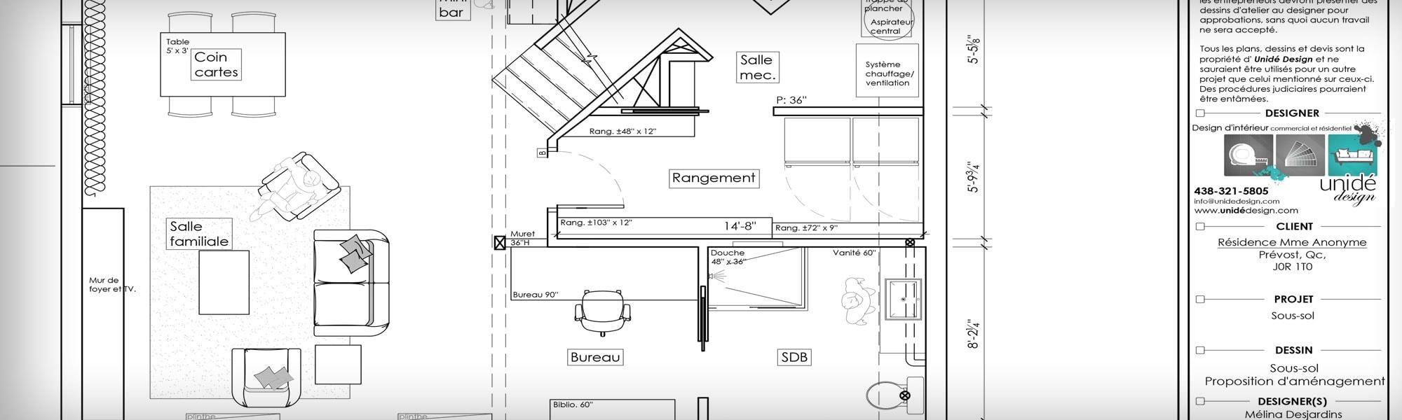 Plan 2D - unidé Design - Mélina Desjardins