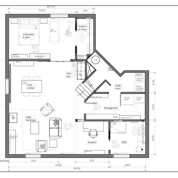 Ensemble de plan 2D – Sous-sol